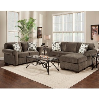 Fabric Sectional Sofa and Loveseat Set with Pillows, Elizabeth Ash