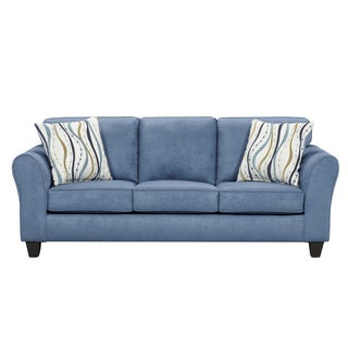 Microfiber Sofa and Loveseat Set with Pillows, Patriot Blue