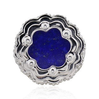 Sterling Silver Round Lapis and white Topaz Ring