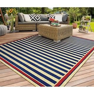 Couristan Covington Nautical Stripes Navy/ Red Area Rug (3'6 x 5'6)