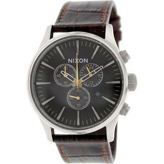 Nixon Men's Sentry A4051887 Brown Leather Quartz Watch