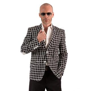 Elie Balleh Milano Italy Men's Cotton Checker Print Slim Fit Blazer