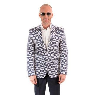 Elie Balleh Milano Italy Men's Cotton Geometric Print Slim Fit Blazer