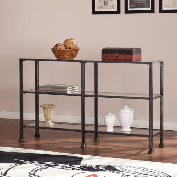 Upton Home Distressed Black Metal And Glass 3 Tier Sofa Console Table