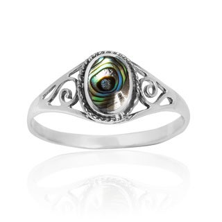 Vintage Swirl Oval Abalone .925 Sterling Silver Ring (Thailand)