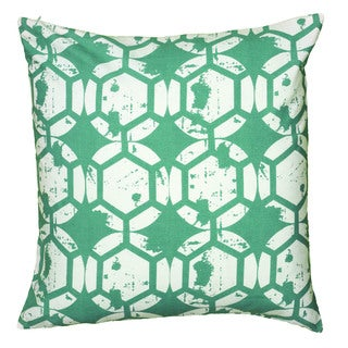 Rizzy Home Teal And White Square Pillow Cover