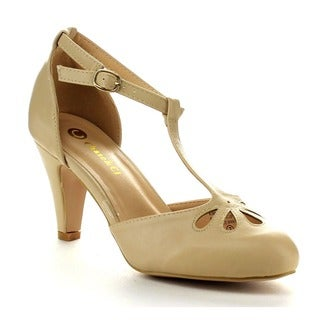 Chase and Chloe Kimmy-36 Women's Teardrop Cut Out T-strap Mid Heel Dress Pumps