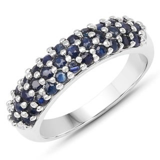 Malaika Sterling Silver 1 1/2ct Blue Sapphire Cluster Ring