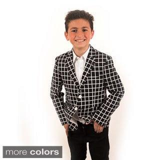 Elie Balleh Milano Italy Boys' Crosshatch Pattern Blazer
