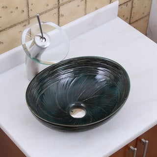 ELITE 1559 F22T Oval Dark Green Glaze Porcelain Ceramic Bathroom Vessel Sink Waterfall Faucet Combo