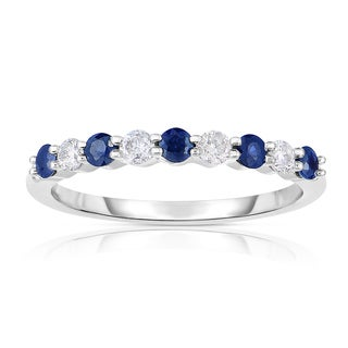 Eloquence 14k White Gold 1/2ct TW Diamond and Sapphire Band (H-I, Sapphire, I1-I2)