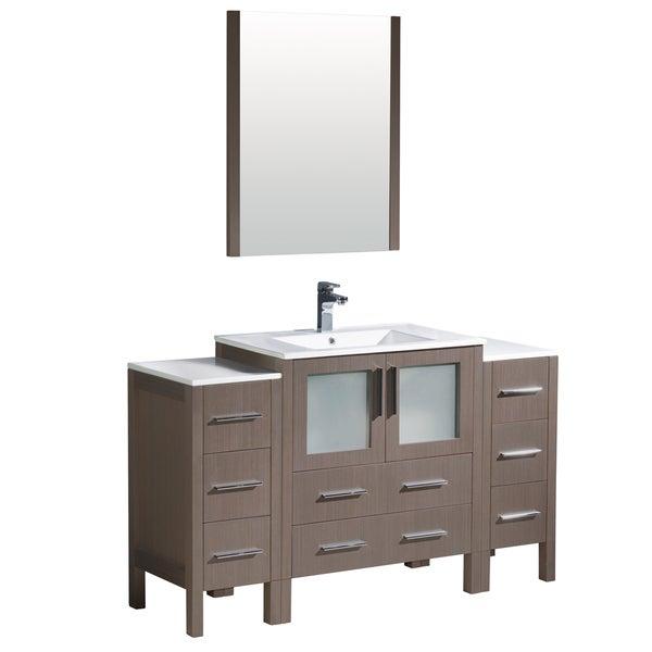 fresca torino 54 inch grey oak modern bathroom vanity with