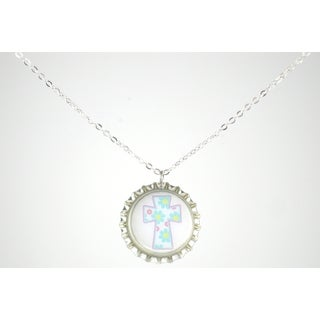 Be The Envy Light Blue Floral Cross Bottle Cap Necklace