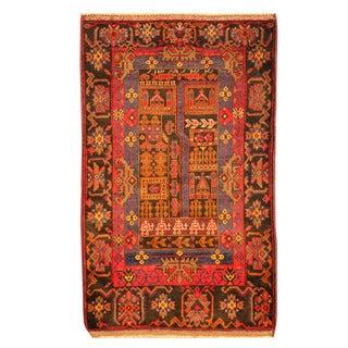 Herat Oriental Afghan Hand-knotted Tribal Balouchi Red/ Orange Wool Rug (3'2 x 5'2)