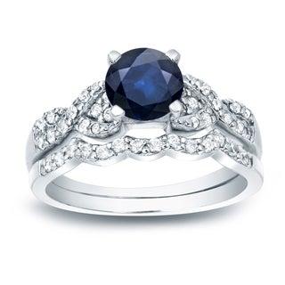Auriya 14k Gold 3/5ct Blue Sapphire and 2/5ct TDW Round Diamond Bridal Ring Set (H-I, SI1-SI2)