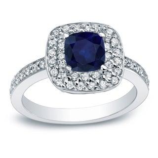 Auriya 14k Gold 3/4ct Blue Sapphire and 3/4ct TDW Cushion Halo Engagement Ring (G-H, I1-I2)