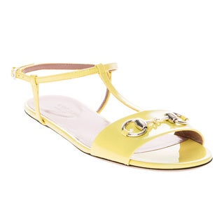 Gucci Patent Leather T-Strap Sandals Yellow