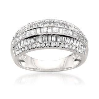 14k White Gold 1 1/2ct TDW Multi-Row Pave Diamond Ring (H-I, I1)