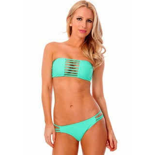 Women's Mint Bandeau Multiple Strappy Bra with Back Ties