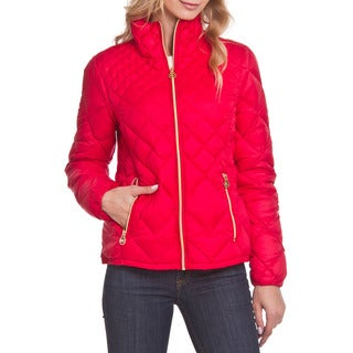 Michael Kors Red Diamond Quitled Packable Coat