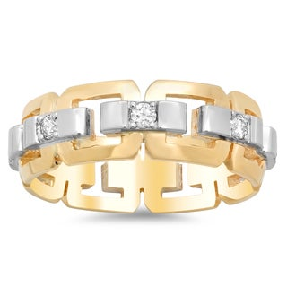 14k Two-tone Gold Men's Eternity 1/2ct TDW Diamond Ring (G-H, SI2)