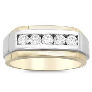 14k Two-tone Gold Men's 1ct TDW Diamond Ring (F, VS2-SI1)