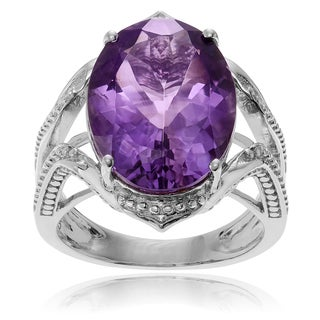 Journee Collection Rhodium-plated Sterling Silver Large Amethyst Ring