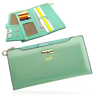 Zodaca Women Fashion Leather Bowknot Long Pouch Purse Clutch Wallet with Zipper Coin Bag/ Card Slots/ Photo Display