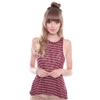 Juniors' Burgundy Striped Knit Tank Top