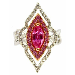 Kabella Luxe 18k White and Rose Gold Marquise-cut Pink Sapphire 1/3ct TDW Diamond Ring (G-H, SI2-I1)