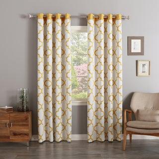 Moroccan Tile Print Room Darkening Grommet Top Curtain Panel Pair