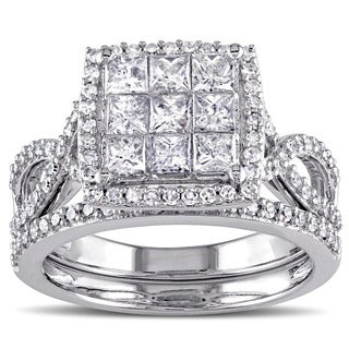 Miadora Signature Collection 10k White Gold 1 1/2ct TDW Diamond Bridal Ring Set (G-H,I1-I2)