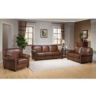 Oasis Premium Brown Top Grain Italian Leather Sofa, Loveseat and Chair