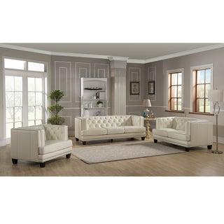 Elle Tufted Cream Top Grain Italian Leather Sofa, Loveseat and Chair