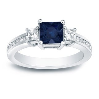 Auriya 14k Gold 3/4ct Blue Sapphire and 3/4ct TDW Princess-Cut Diamonds Engagement Ring (H-I, SI1-SI2)