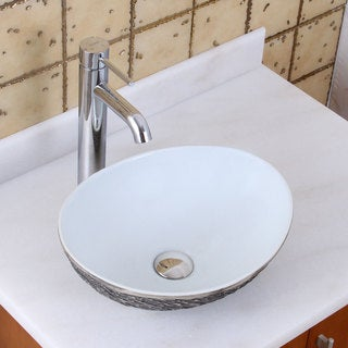 ELITE 1574+F371023 Oval Grey / White Porcelain Ceramic Bathroom Vessel Sink with Faucet Combo