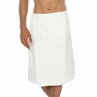 Authentic Turkish Cotton Terry White Men's Spa and Shower Towel Wrap