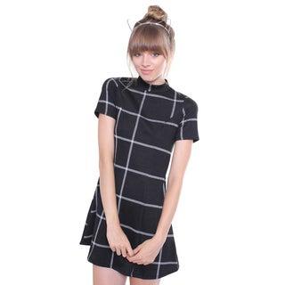 Juniors' Contemporary High Neck Black Gingham Print A-line Dress