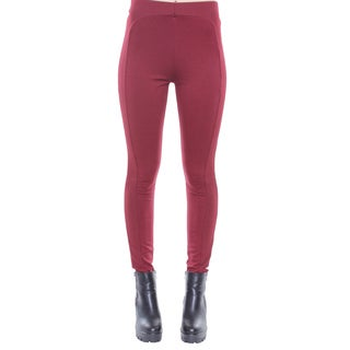Juniors' Burgundy Detailed High Waisted Leggings