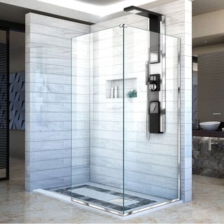 Linea Frameless Shower Door. Two Attached Glass Panels: 34 in. x 72 in