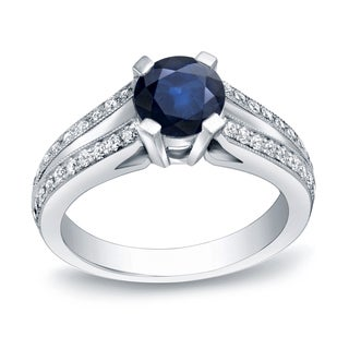Auriya 14k Gold 1ct Blue Sapphire and 1/4ct TDW Round Diamond Engagement Ring (H-I, SI1-SI2)