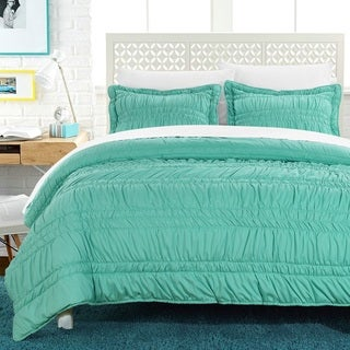 Chic Home Caress Pleated Ruffled Technique Quilt Set