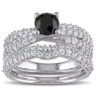 Miadora Sterling Silver Created White Sapphire and 1ct TDW Black Diamond Bridal Ring Set