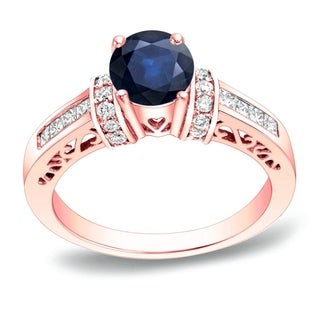 Auriya 14k Gold 1/2ct Blue Sapphire and 3/4ct TDW Round Diamond Engagement Ring (H-I, SI1-SI2)