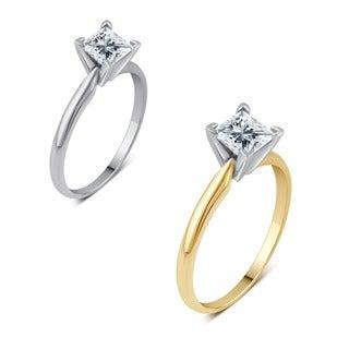 14k Gold 1ct TDW Princess-cut IGL-certified Diamond Solitaire Engagement Ring (H-I, I1-I2)