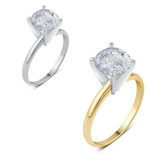 14k Gold 2ct TDW Round IGL-certified Diamond Solitaire Engagement Ring (H-I, I1-I2)