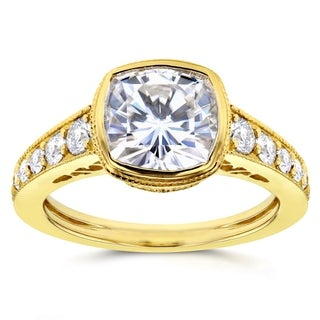 Annello 14k Yellow Gold Cushion Moissanite Bezel and 2/5ct TDW Diamond Engagement Ring (G-H, I1-I2)