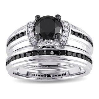 Miadora 10k White Gold Black and White Diamond Bridal Ring Set