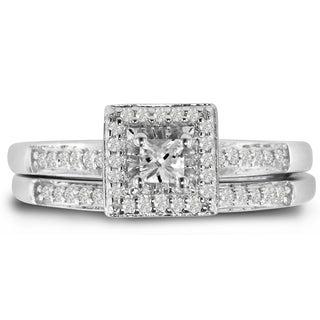 Sterling Silver 1/4 Carat TDW Micro Pave Diamond Bridal Set, Princess Center (J-K, I1-I2)