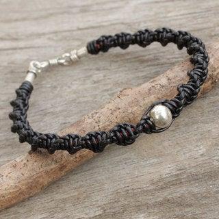 Men's Leather Silver 'Moon Helix in Black' Bracelet (Thailand)